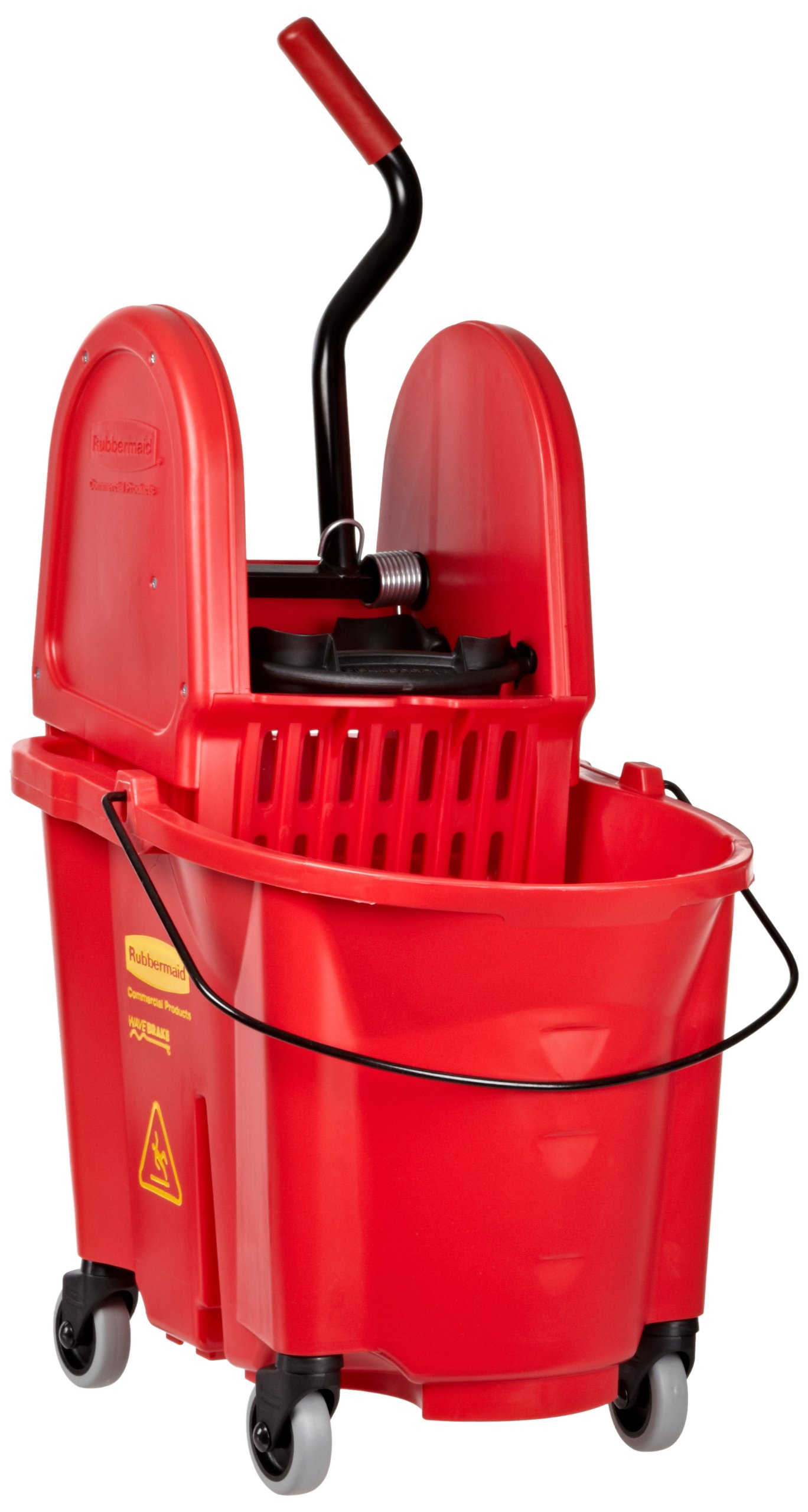 Rubbermaid Commercial WaveBrake Mop Bucket with Down-Press Wringer Combo, 35 Quart, Red, FG757888RED