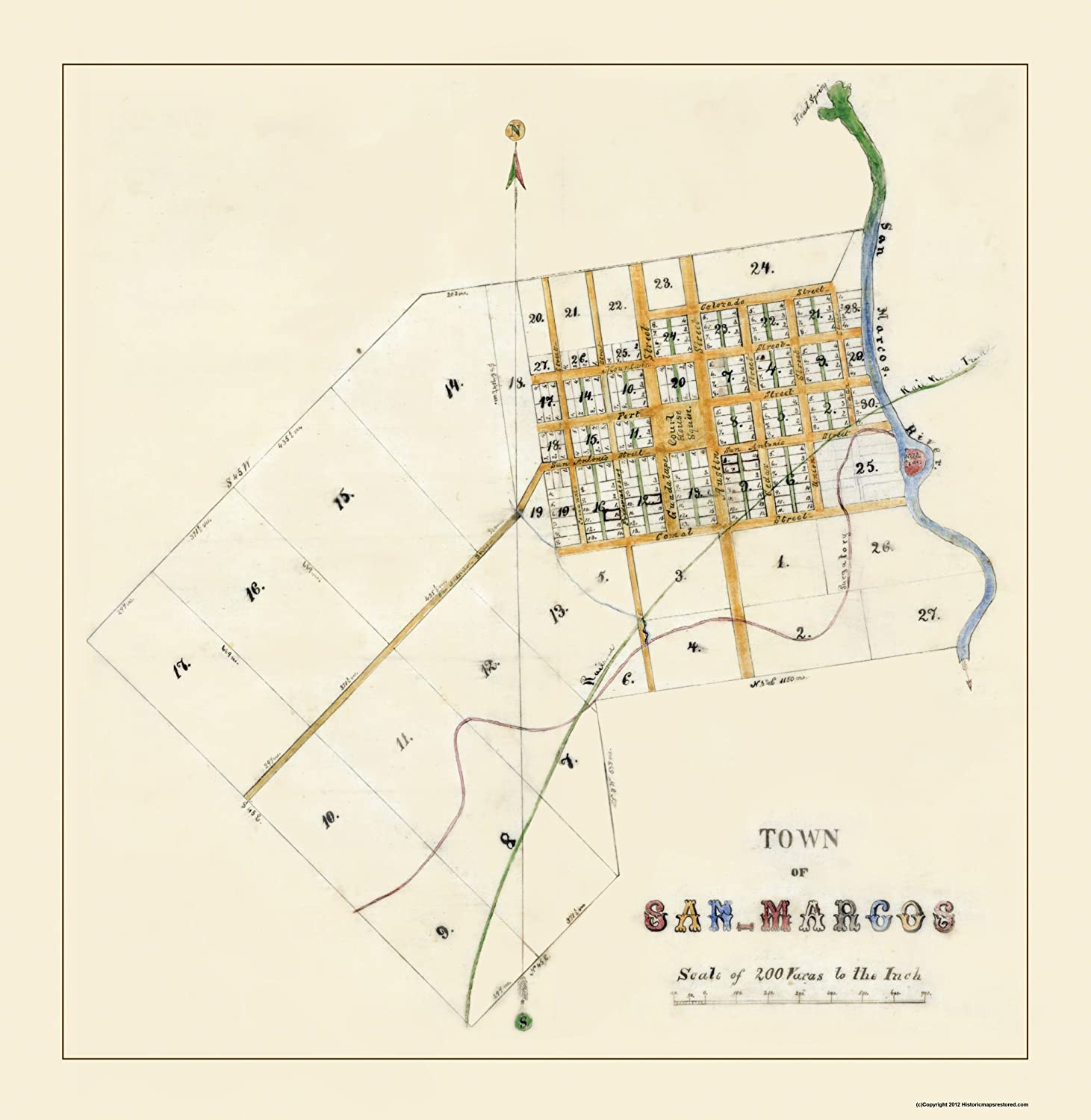 Amazon.com: Old City Map - San Marcos Texas - 1881 - 23 x ... on 123 san marcos texas map, prospect park san marcos map, downtown san marcos tx map, float the river san marcos tx map, austin city map, blanco river san marcos tx map,