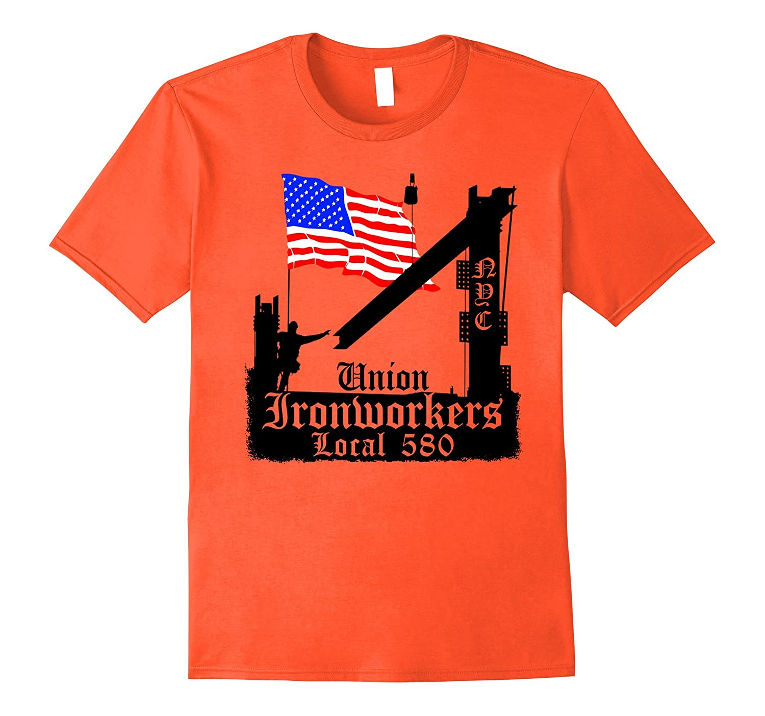 Union Ironworkers Local 580 NYC American Flag Orange Tee-ANZ