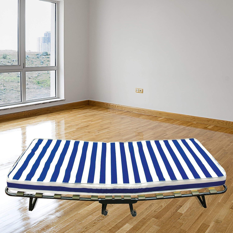 Baldiflex Dali Cama plegable con colch/ón de poliuretano expandido Waterfoam ortop/édico 10/cm de altura, somier de l/áminas, 80/x 190/cm