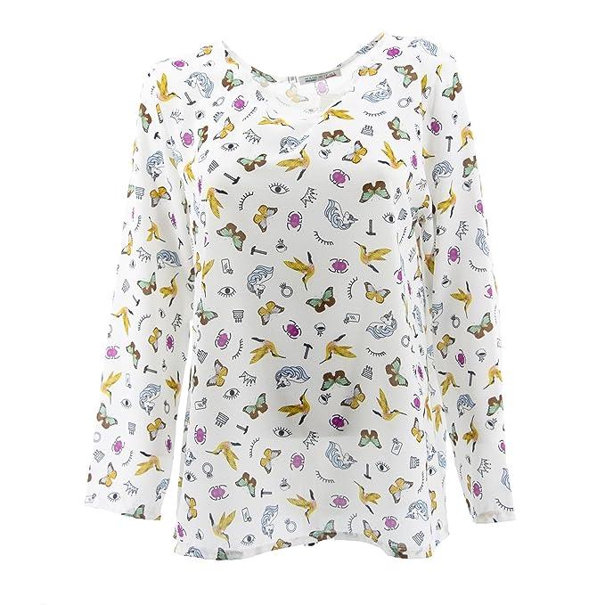 Netgozio Camisa de la Blusa de Las Mujeres del Equipo de Manga Larga de Cuello V