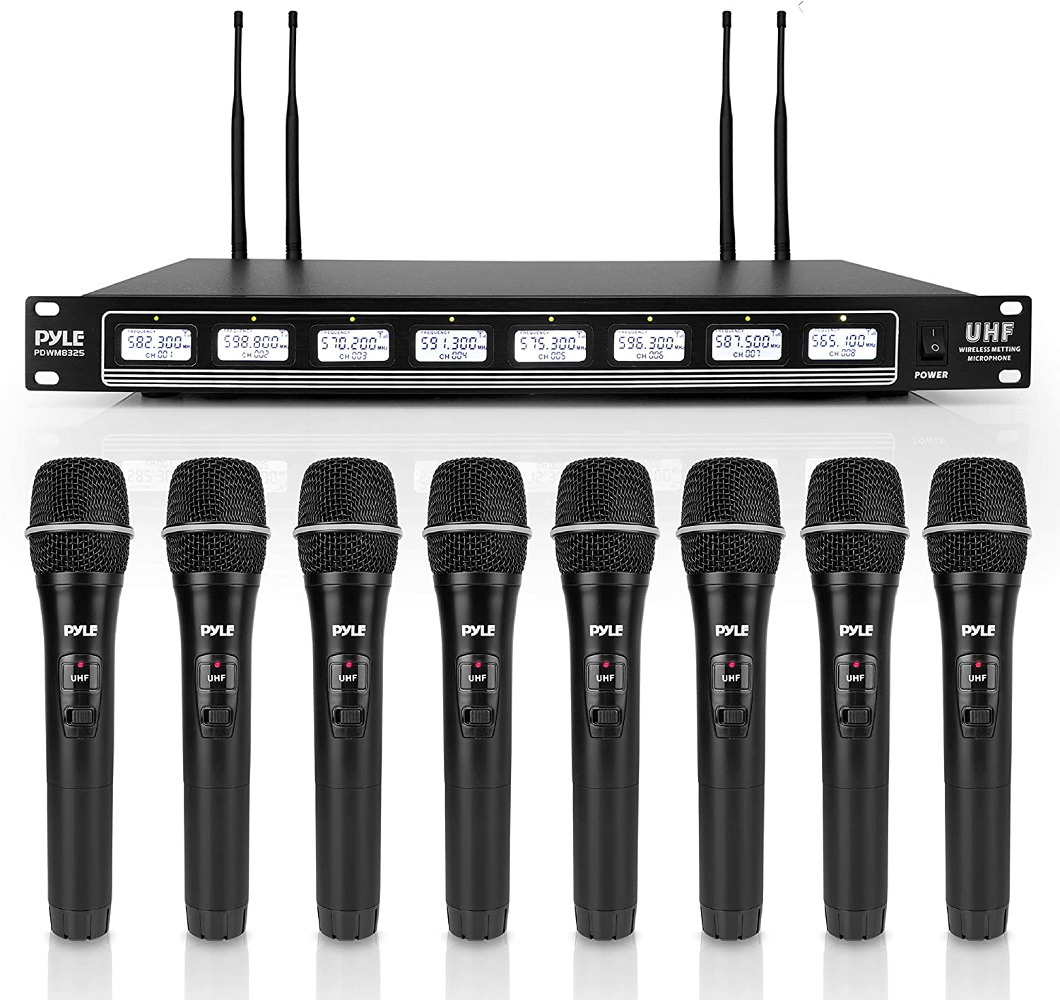Pyle 8 Channel UHF Wireless Microphone & Rack Mountable Receiver Audio Sound System 8 Handheld Mics Independent Channel Volume Control LCD Digital Display Integrated Noise Filtration (PDWM8325), Black
