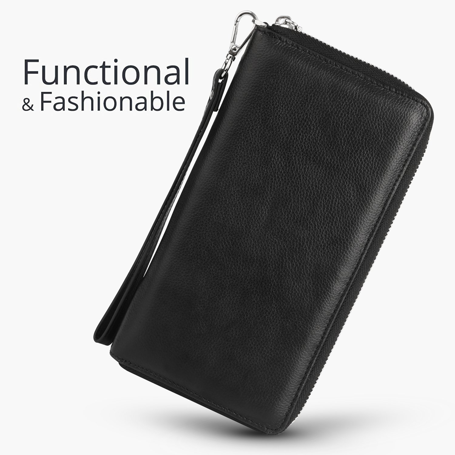 Womens RFID Blocking Wallet Real Leather Zip Around Clutch Large Travel Purse (Black) by Aymlan (Image #2)