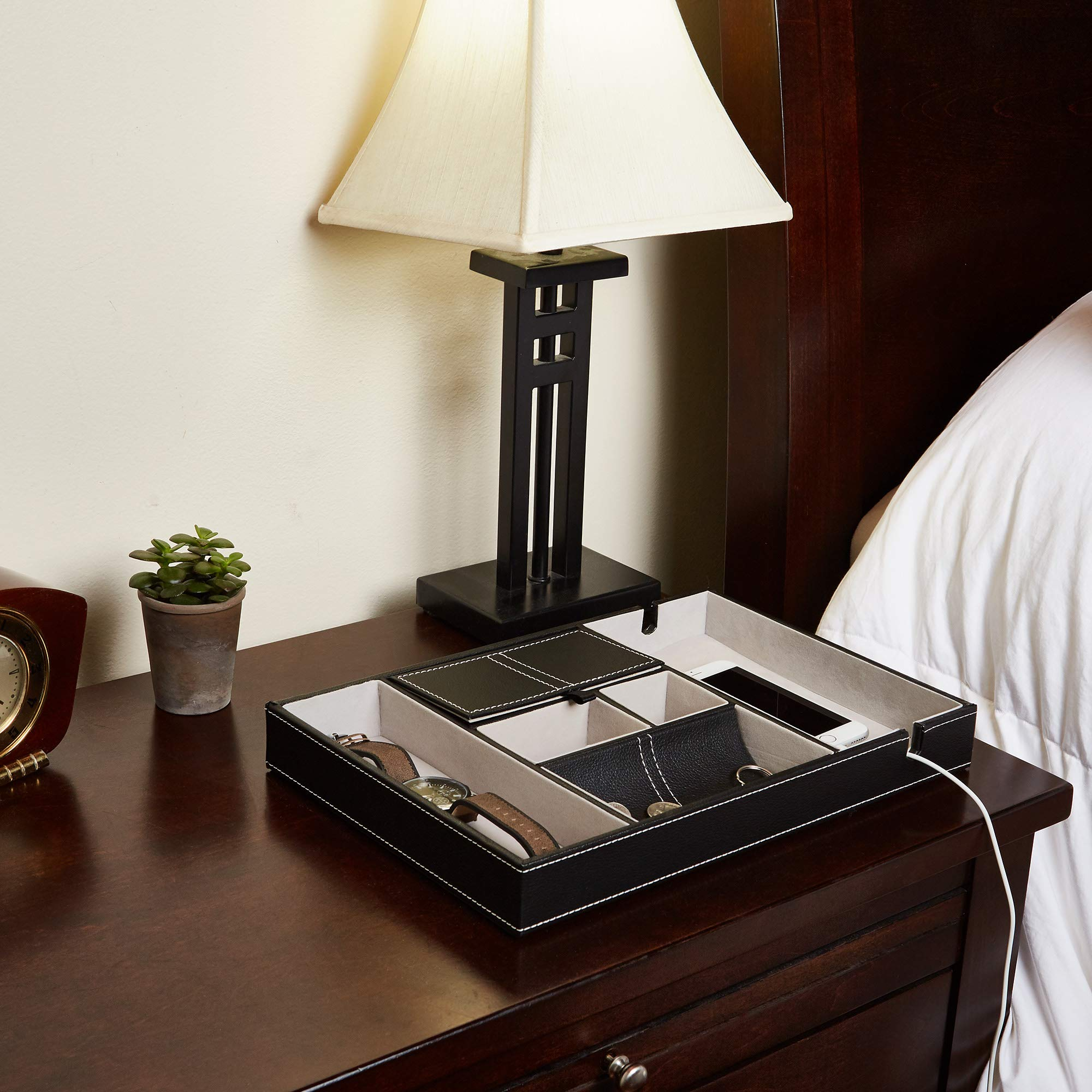 Bedside Tray Organizer - Nightstand Storage Phone/Wallet/Electronics/Charging/Keys/Books/Glasses - Desk/Table/Dresser Caddy - Control Bedside Organizers - Men/Women Smartphone/Jewelry Compartment by TutisD (Image #3)