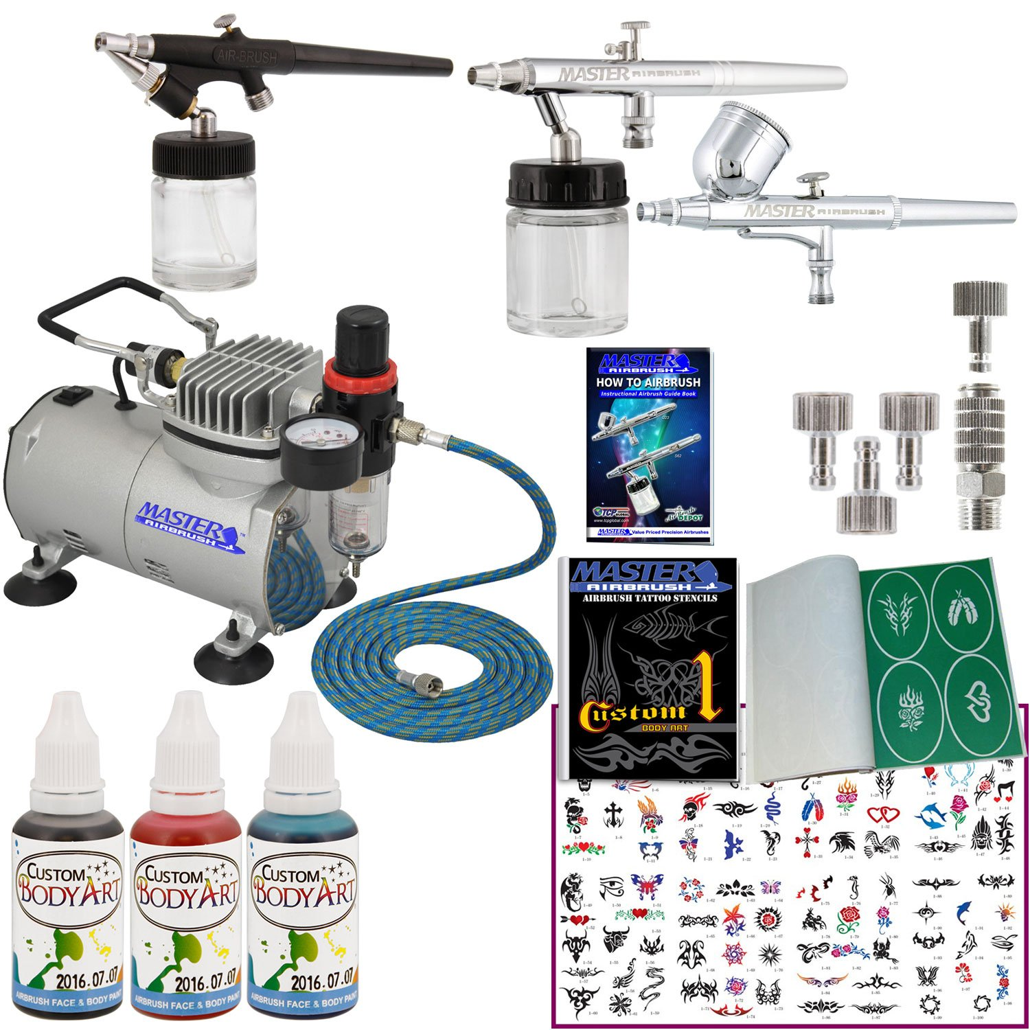 Master Airbrush Tattoo System 3 Airbrushes, Air Compressor, Book of 100 Stencils, 6' Hose, Airbrush Holder, 3 Quick Couplers, Black, Red & Blue Temporary Tattoo Ink & How to Airbrush Training Book 6' Hose ABD KIT-TAT-3AIR