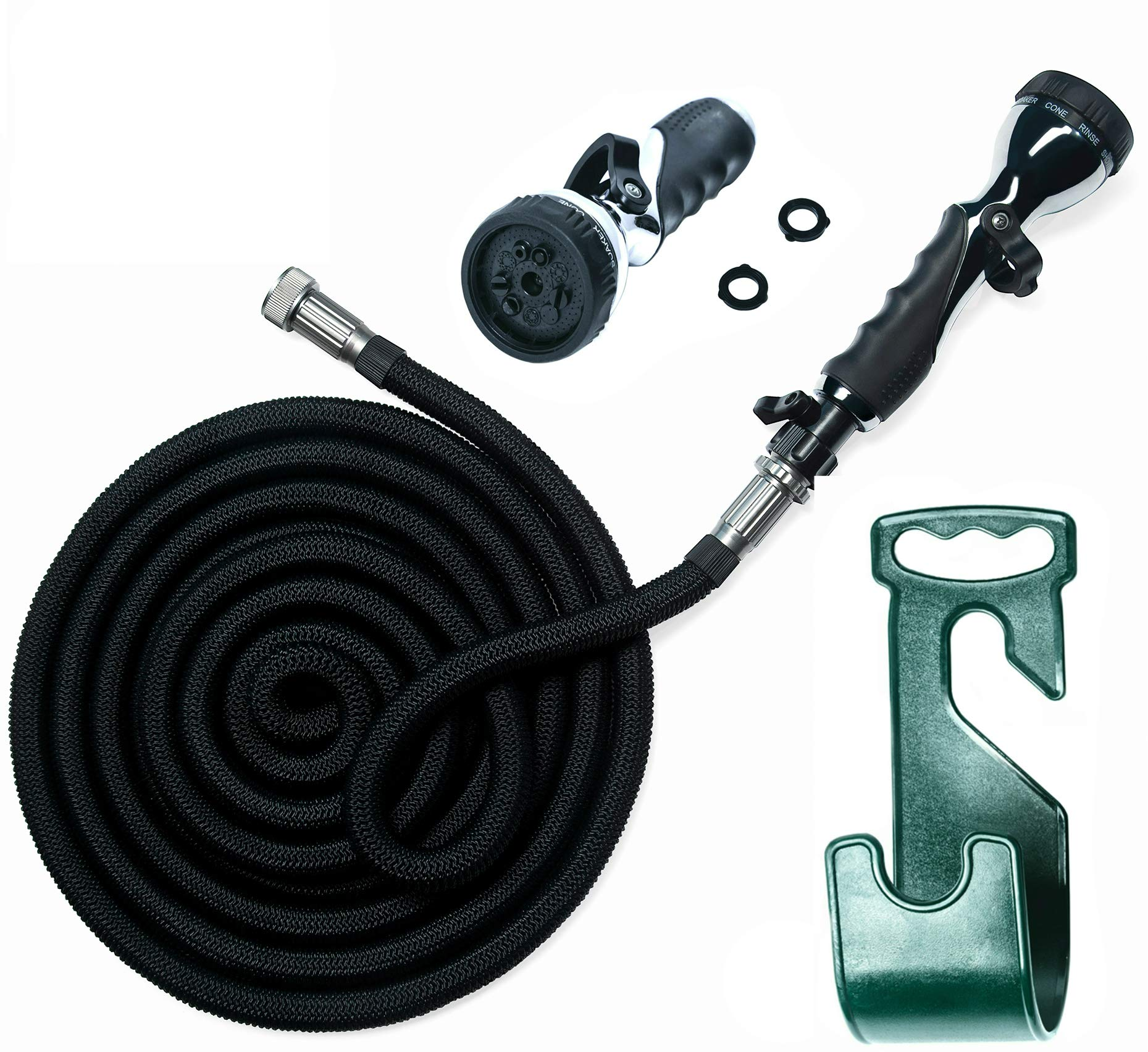 Vela Water Hose – 75 Feet Expandable Garden Hose - Hose Holder & High Pressure Washer Spray Nozzle With 9 Settings – Best As Seen on TV Heavy Duty Kink Free Flex Hose for Car Washing & Watering Hose