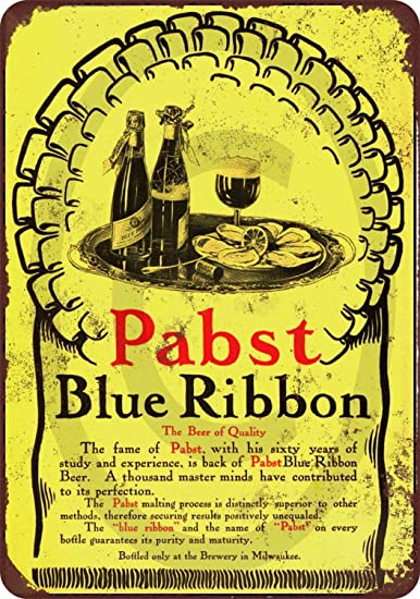 MUSTYDF 1905 Pabst Blue Ribbon - Cartel metálico de ...