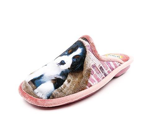 Zapatilla Mujer de Andar por casa de la Marca BIORELAX, Tejido Grenoble Color Salmon, Estampado Perrito - 4512-134: Amazon.es: Zapatos y complementos