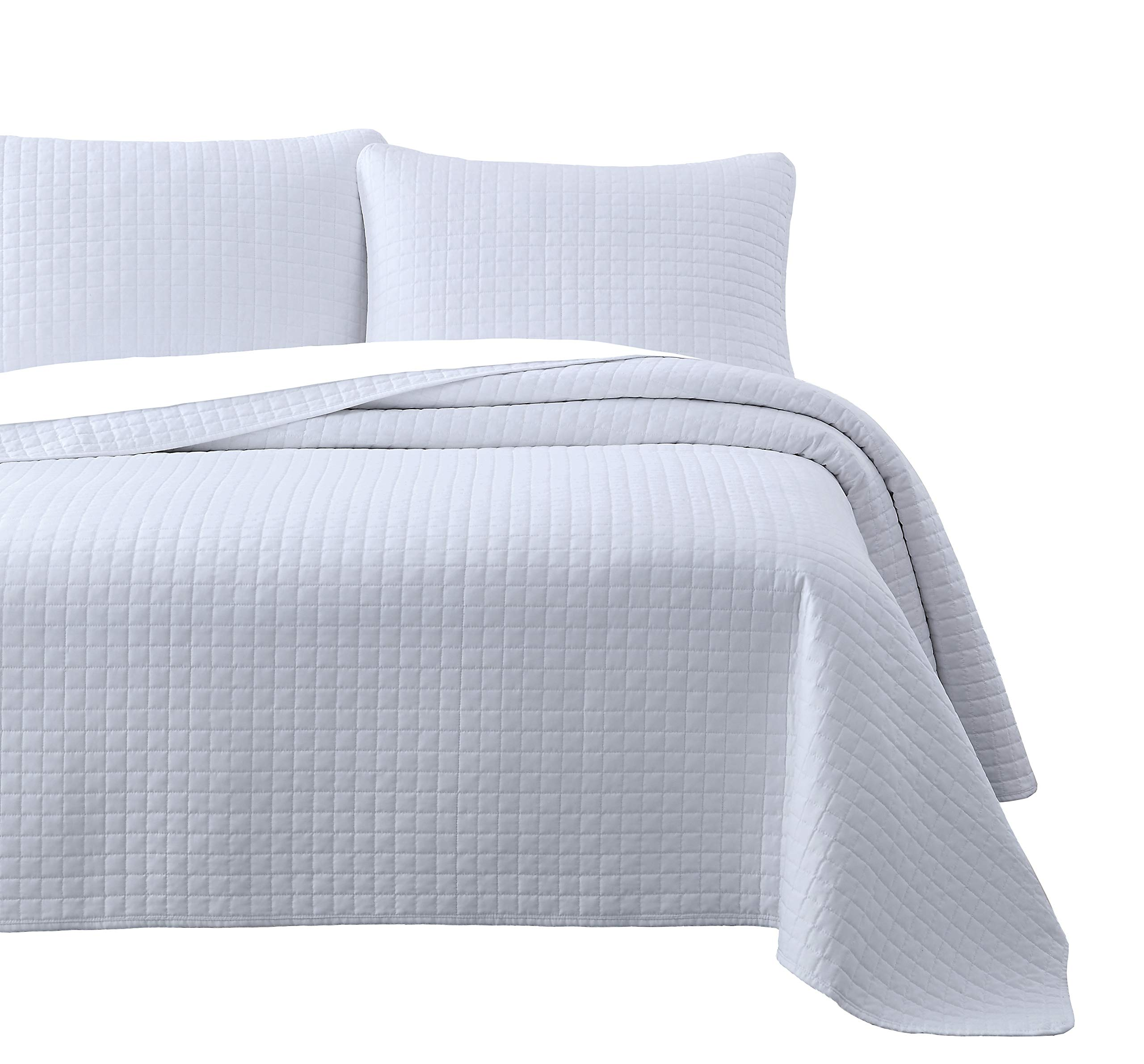 Attitude 3pc Quilted Coverlet Set White King/Cal-King Size (108''x96'') Prewashed Cover Set, Square Stitched Design, Soft to The Touch Texture Microfabric Shell 100% Cotton Bed Cover by Cozy Beddings