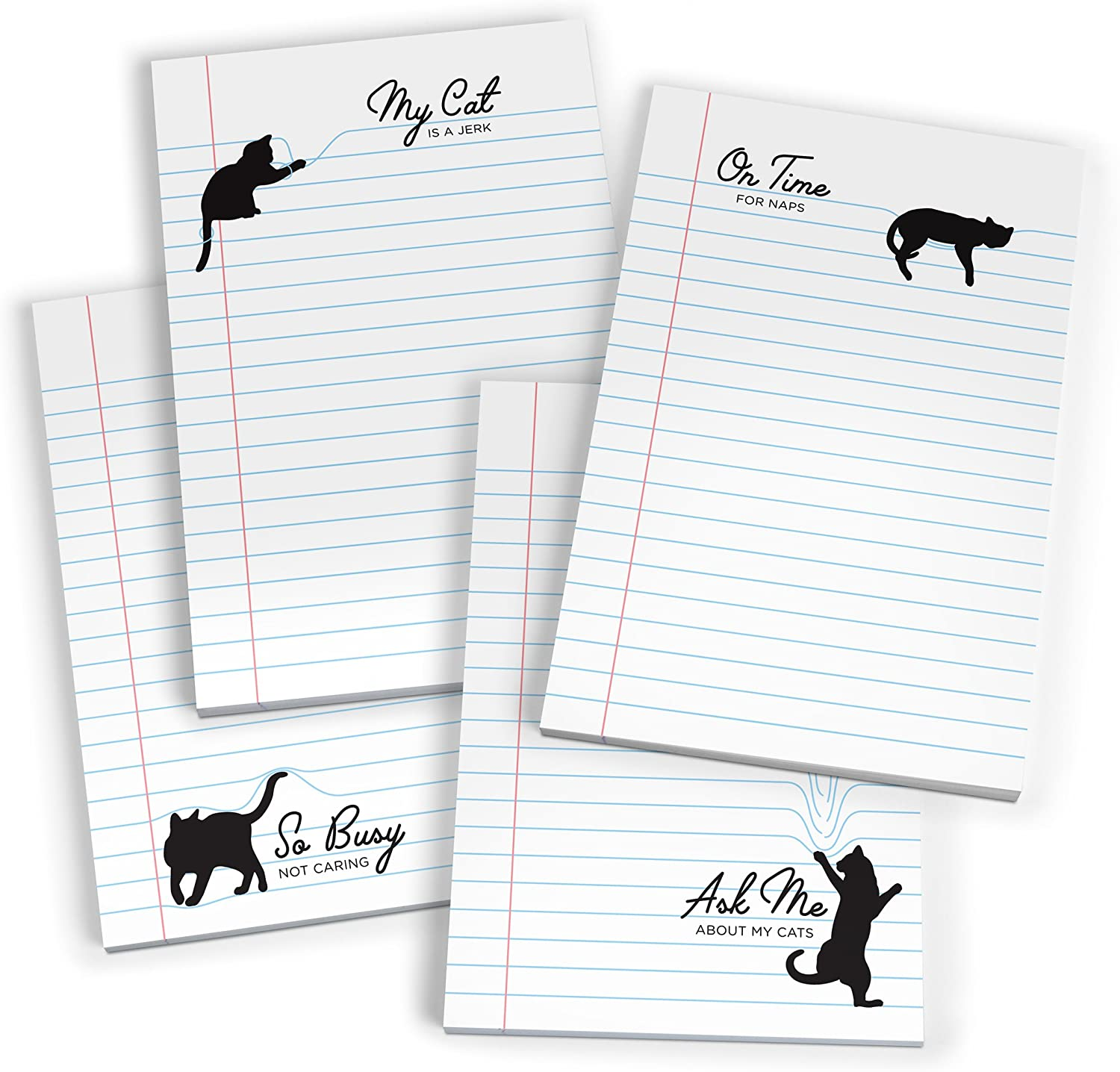 Fred PAWPAD Set of 4 Cat Notepads, Assorted