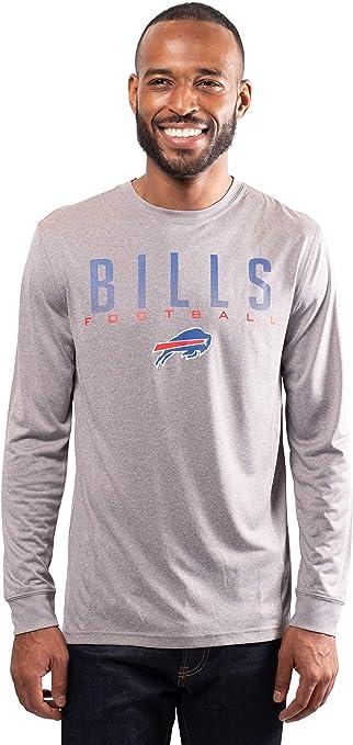 NFL Buffalo Bills Ultra Game Mens LS POLY CREW NECK TEE Large Heather Gray