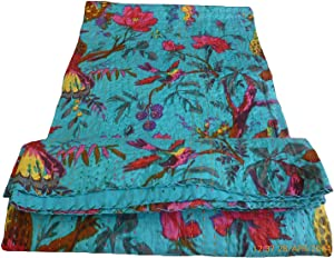 colors of rajasthan Indian Kantha Blanket, Bed Cover, King Kantha Bedspread, Bohemian Bedding Kantha Hippie Quilt (Blue)
