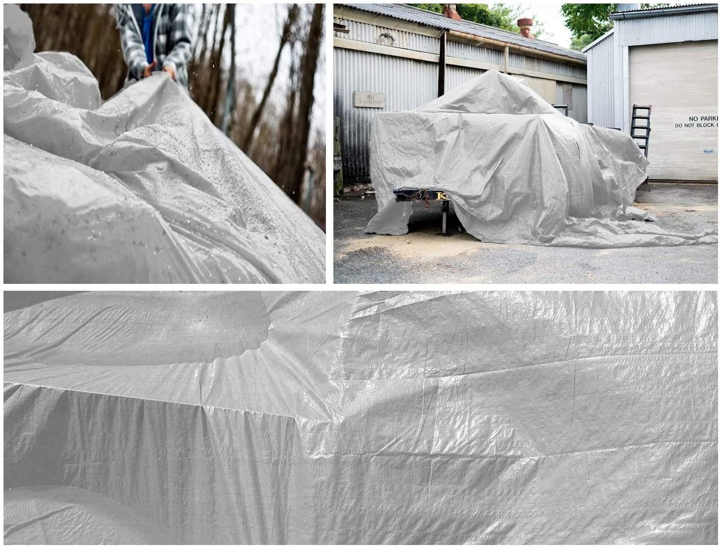 KAHEIGN 4m x 6m Tarpaulin Cover White PE 130g//m/² Heavy Duty Waterproof Tarp Cover Reinforced Eyelets Thicken Tarpaulin Sheet for Outdoor Camping Garden Canopy Balcony Tent