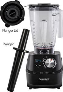 NUWAVE MOXIE Pro High-Performance (HP) Digital Blender; NSF Certified; Powerful 2.5 HP Motor; Laser-Cut Hardened SS Blades; SS Metal Drive System with HP Bearings; 10 Adjustable Speeds; 6 Pre-Programmed Settings; Easy-to-Read Digital LED Display; 64 oz BPA-Free Tritan Jar; Plunger: Blend Smoothies, Shakes, Fresh Juices, Nut Butters, Sorbets & Ice Creams, Corn Meal & Grains, and Hot Soups