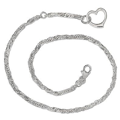Singapur Fußkette Mit Einhänger Gedrehte Fußkette Silber 925 Länge 27 Cm X 3 Mm Fine Jewelry