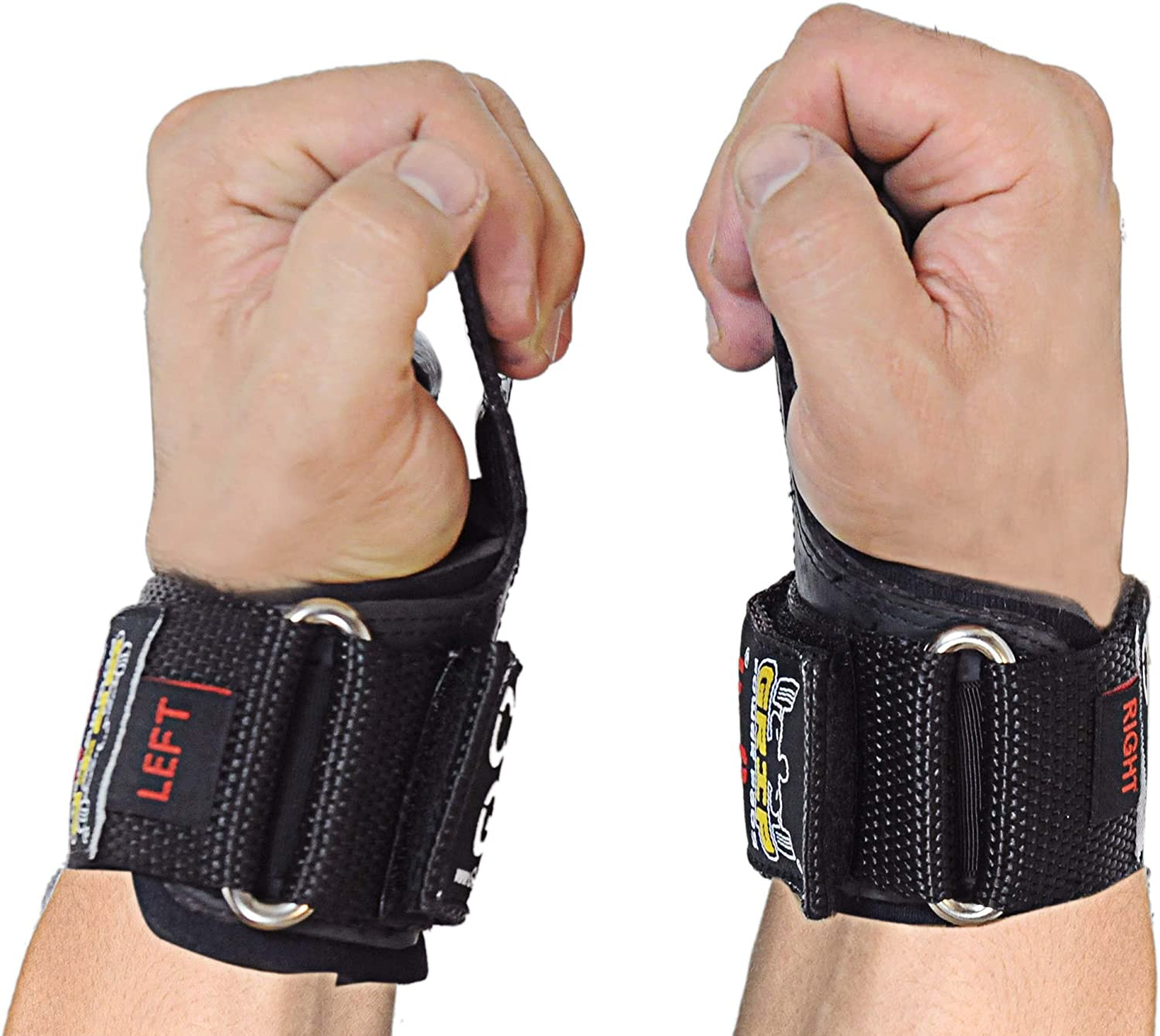 For Deadlifts With Built in Adjustable Neoprene Padded Wrist Wrap Support. Power Lifting Cobra Grips PRO Weight Lifting Gloves Alternative to Power Lifting Hooks Heavy Duty Straps