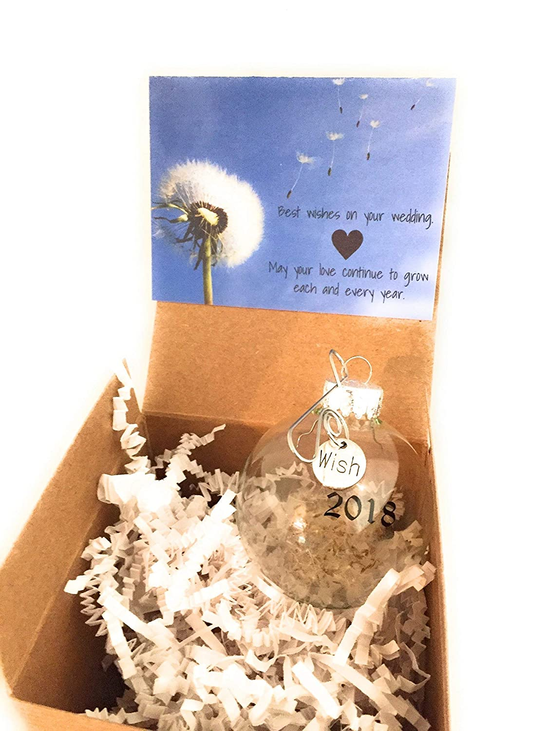 fc2e14e4c47 Amazon.com: 2018 Wedding Gift | Dandelion Seeds Wishes Glass Globe Keepsake  Ornament. Card and Gift Box included. Bridal Shower Newlyweds Brides and  Grooms.