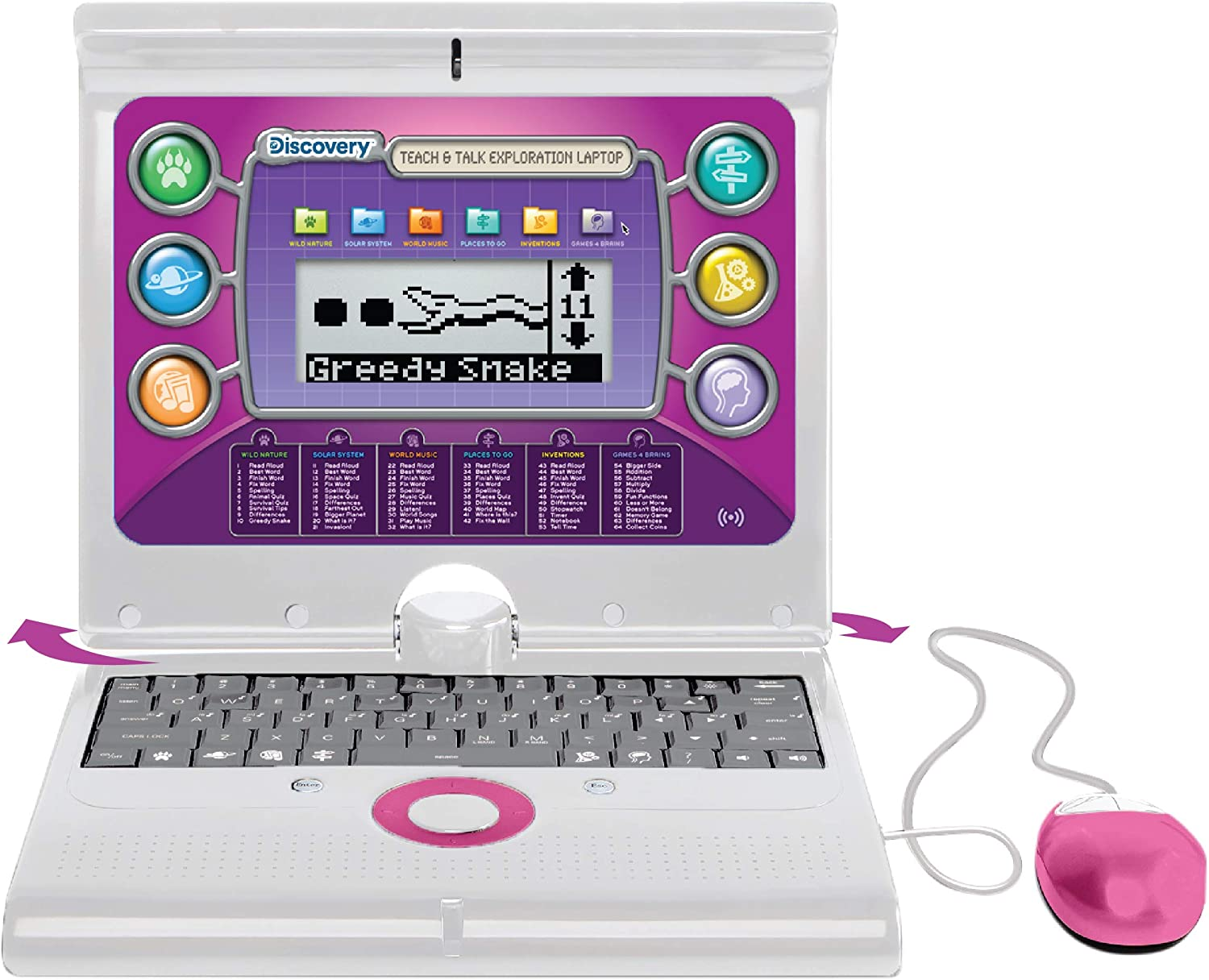 Discovery Kids Teach & Talk Laptop, Children's Educational Interactive Computer, 60 Challenging Games and Activities, Battery Powered and Portable, Pivoting LCD Screen, Keyboard and Mouse Included