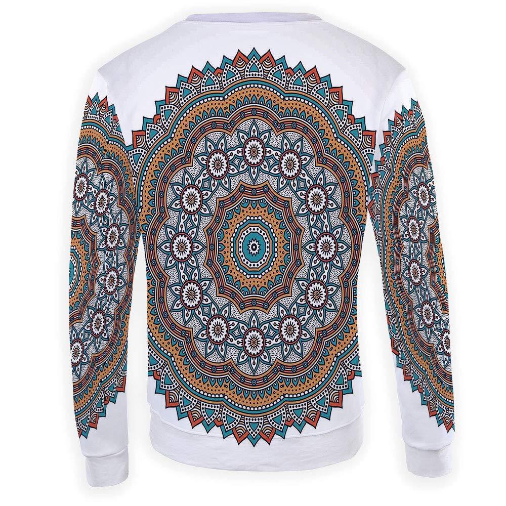 MOOCOM Mens Crewneck Mandala Decor Sweatshirt