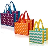 Reusable Gift Tote Bag for Christmas and everyday, Medium Vogue 6 pack - 3 designs