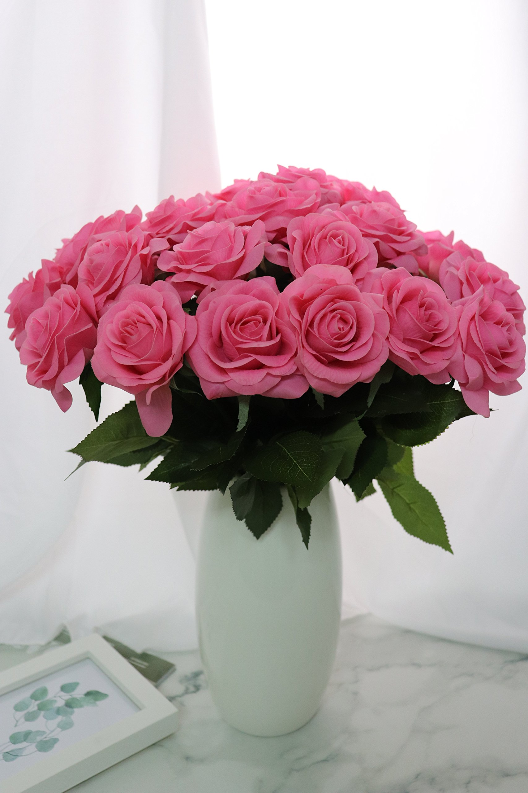 KISMEET-Artificial-Roses-Fake-Silk-Flowers-Real-Touch-Long-Stem-for-Wedding-Party-Home-Office-Outdoor-Craft-Decoration-Pack-of-10-Pink