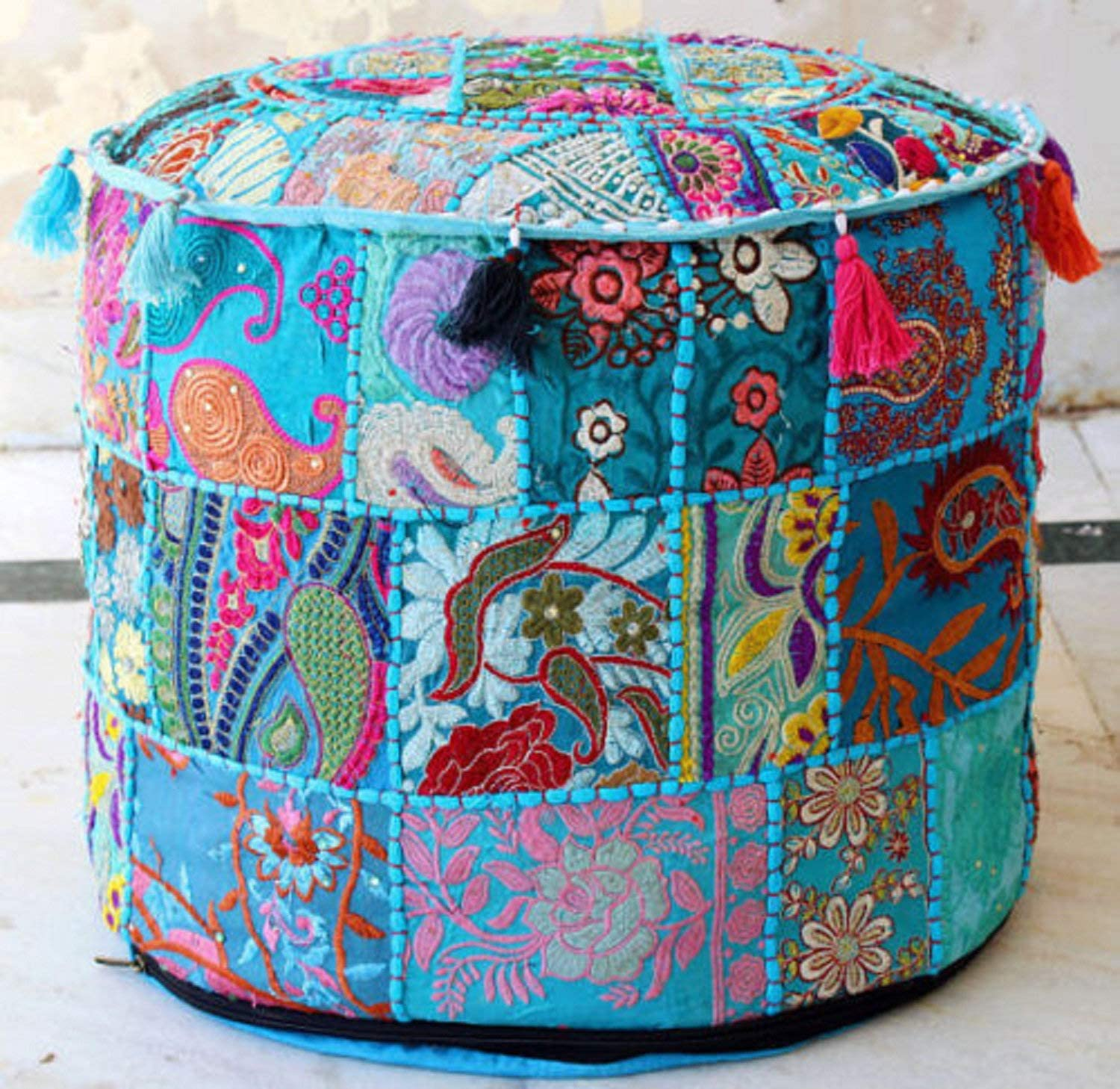 Jaipurstudio W22xH14 Indian Handmade Patchwork Pouf Cover Terquise