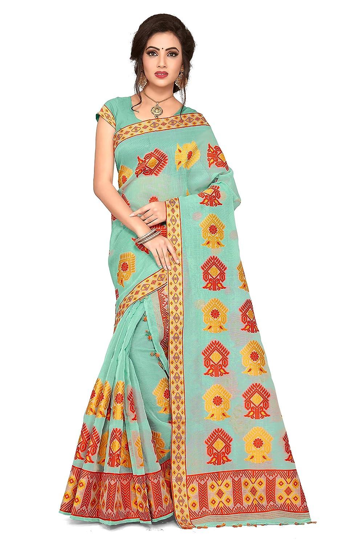S. Kiran's Assamese Art Cotton Nuni Sea Green Mekhela Chador Saree - Mekhla Sador - Dn 2896