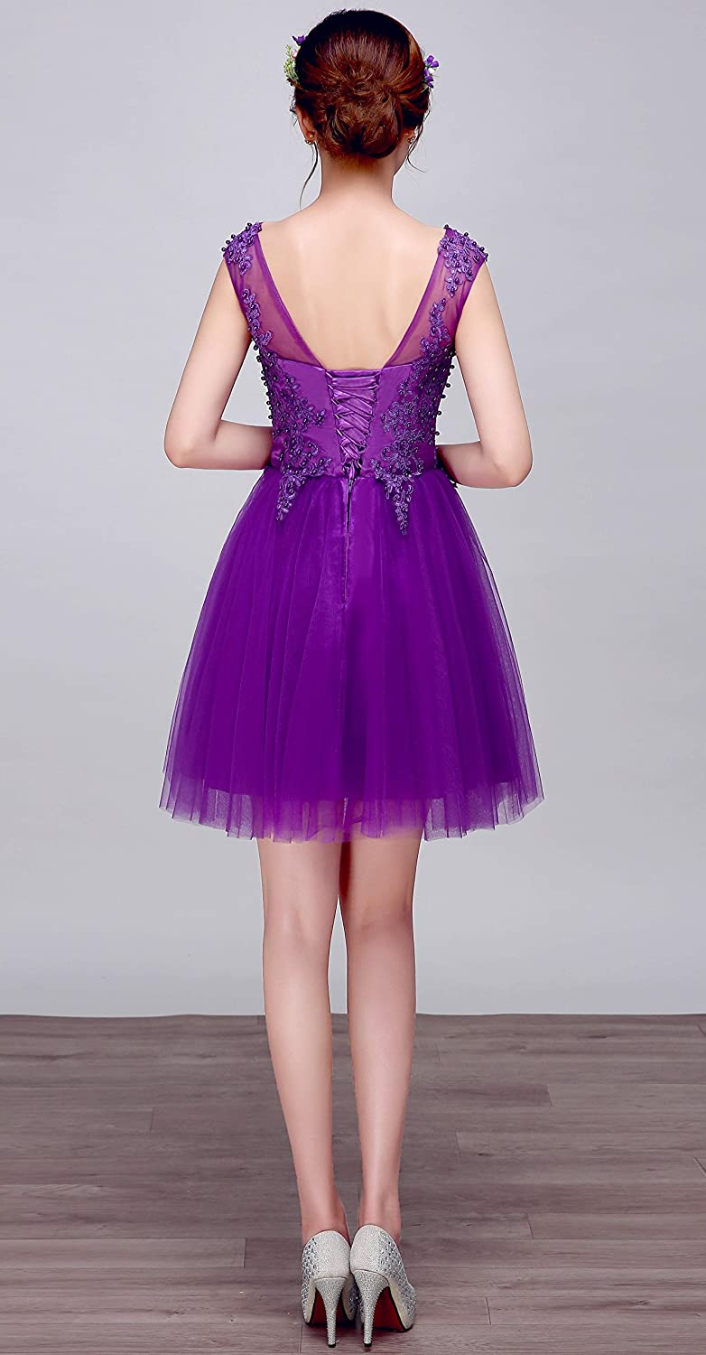 To life 2018 Jewel Applique Beaded A Line Bridesmaid Homecoming Cocktail Prom Dress Purple Grey Wine Red
