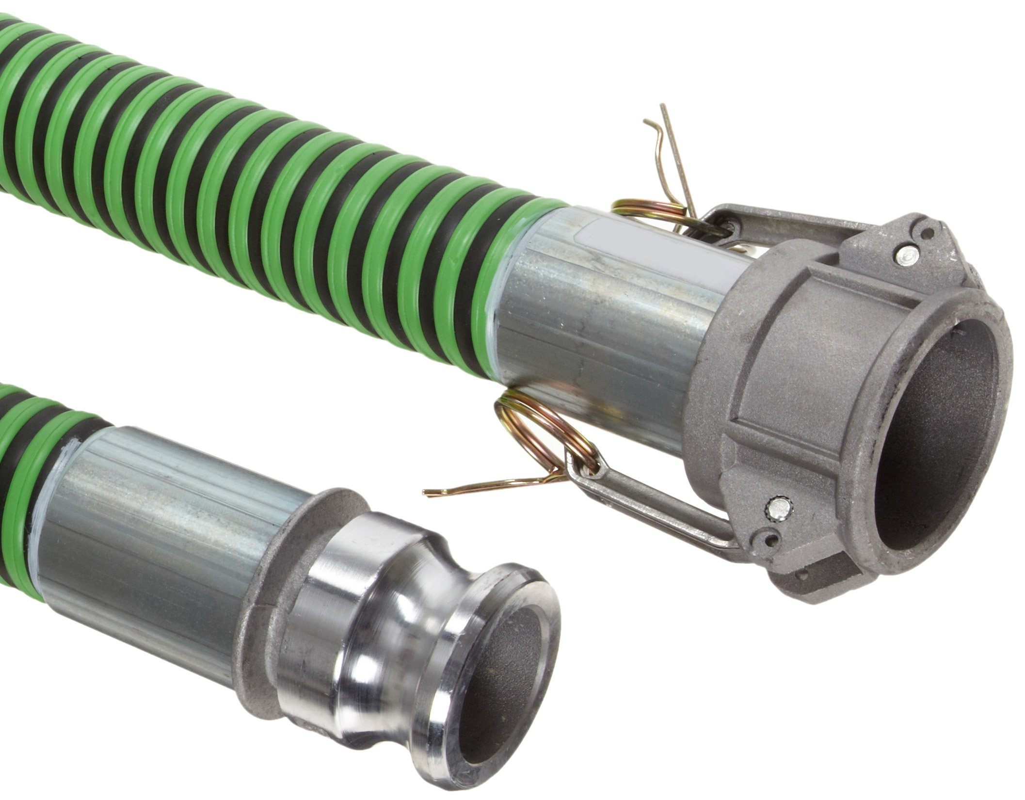 Goodyear EP Green Hornet XF Rubber Suction/Discharge Hose Assembly, 1-1/2'' Aluminum Cam And Groove Connection, 50 PSI Maximum Pressure, 25' Length, 1-1/2'' ID