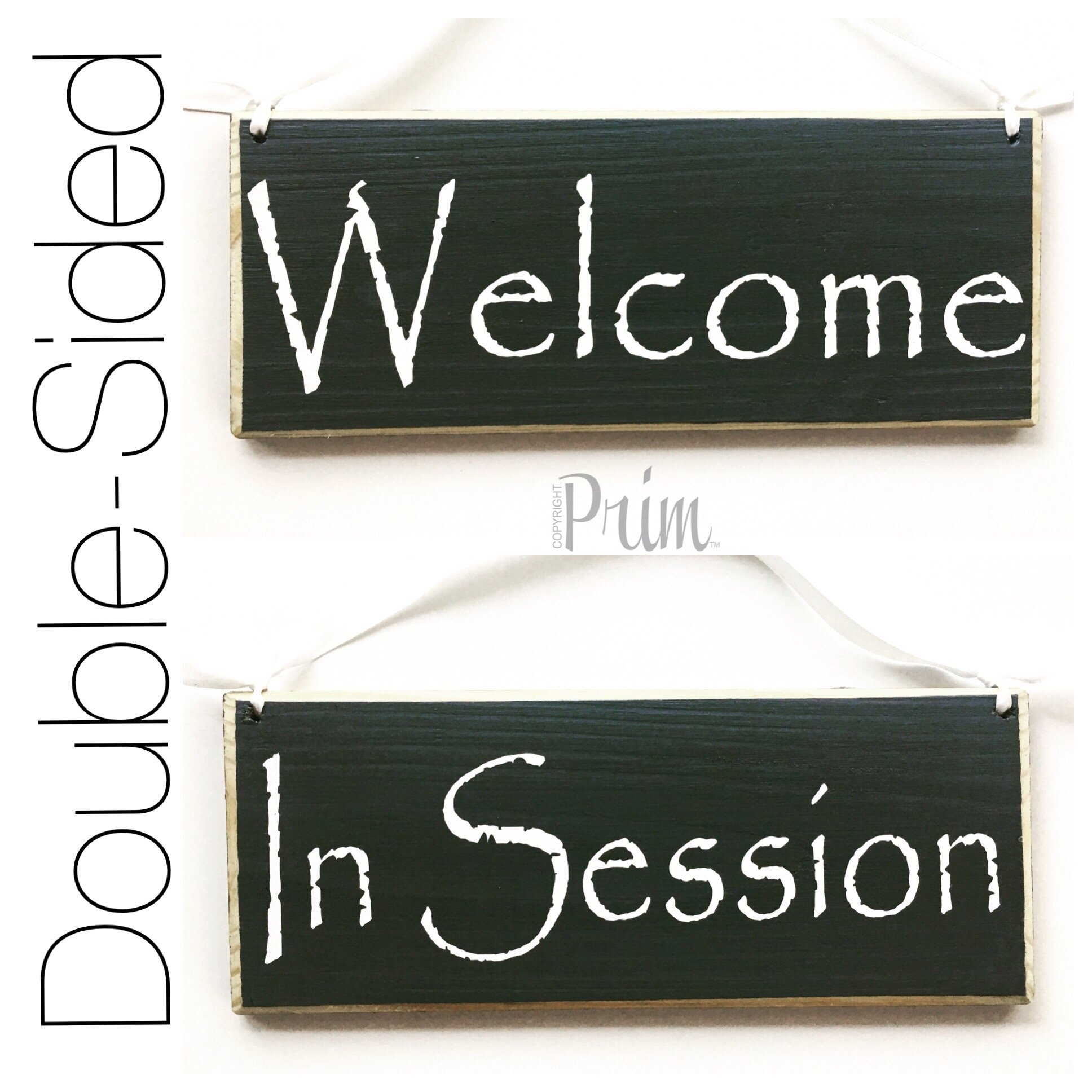 10x4 Two Sided Welcome in Session (Choose Color) Meeting Office Spa Salon Please Do Not Disturb Shhh Quiet Custom Wood Sign