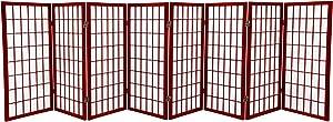 Oriental Furniture 3 ft. Tall Window Pane Shoji Screen - Rosewood - 8 Panels