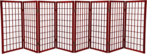 Oriental Furniture 3 ft. Tall Window Pane Shoji Screen – Rosewood – 8 Panels