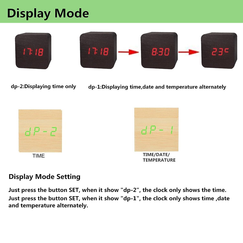 PluieSoleil Sveglia Digitale in Legno con Display a LED Sveglia Digitale con Allarme ad attivazione vocale Alimentato Tramite Cavo USB o 3 Batterie AAA Data Temperatura Non Incluse