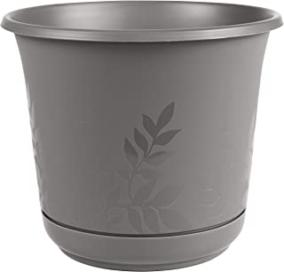 "product image for Bloem FP06908 Freesia Planter w/Saucer 6"" Charcoal, 6"""