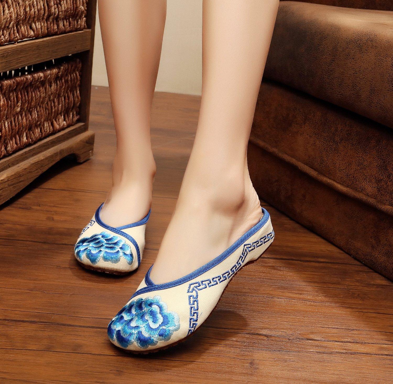 Gestickte Schuhe, Sehnensohle, ethnischer Stil, weiblicher Flip Flop, Mode, bequem, Sandalen  40|Blue