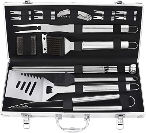 BBQ SET Stainless Steel Barbecue Utensils Kit Outdoor Grill Tools Cases 5 Piece