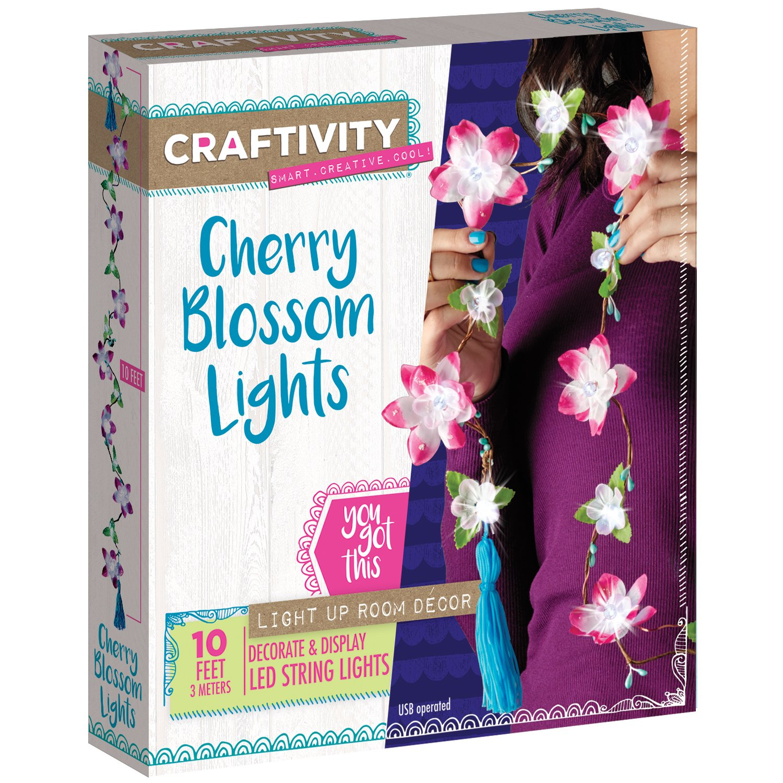 Craftivity Cherry Blossom Lights Craft Kit Makes 1 Led Project For 20 Or 40 Watt Fluorescent Tubes 8211 Inverter Flower String Light Toys Games