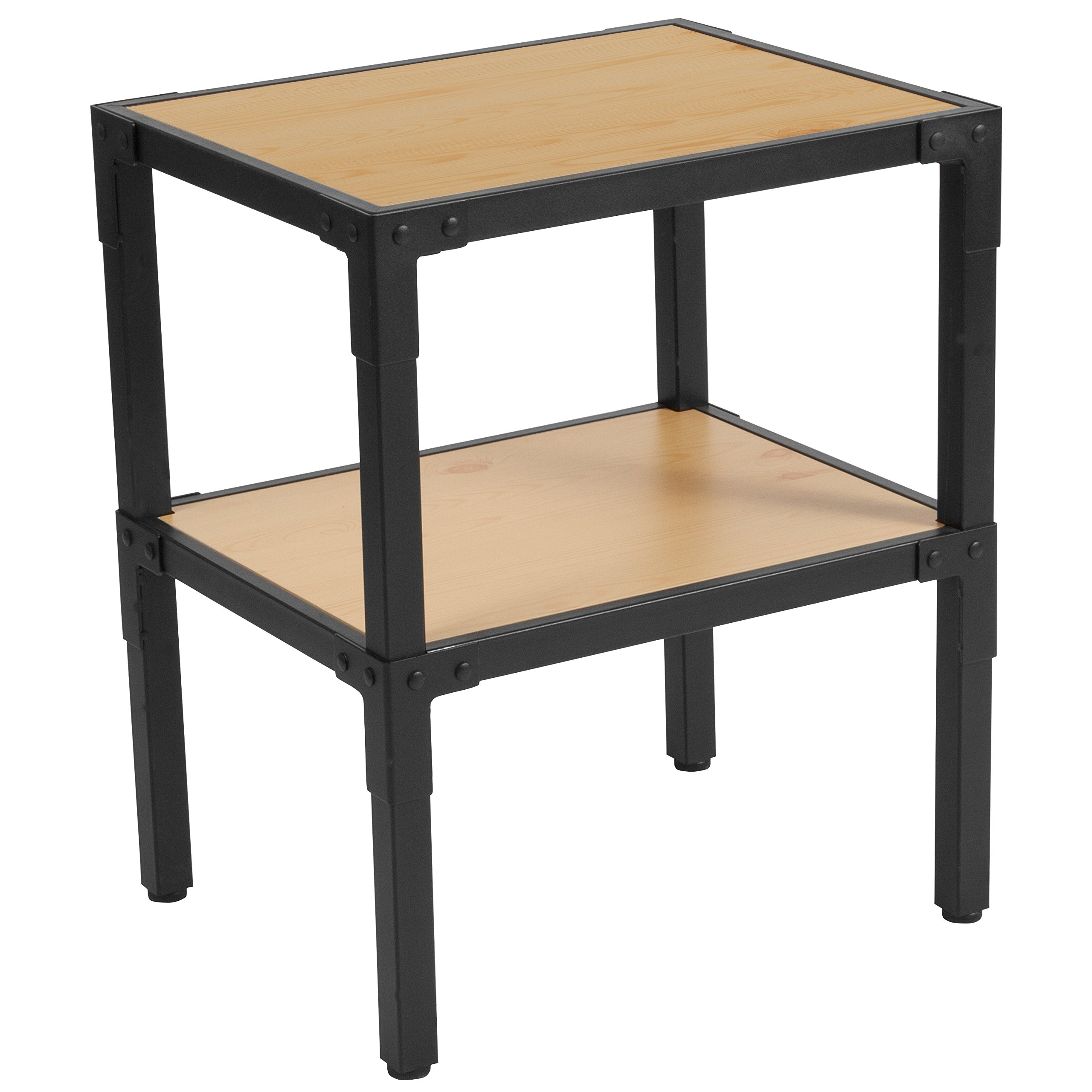 Flash Furniture Holmby Collection Knotted Pine Wood Grain Finish Side Table with Black Metal Legs