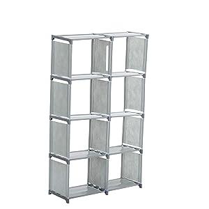Aastha Enterprise Metal Open Book Shelf 8 Box(Finish Color - Grey)