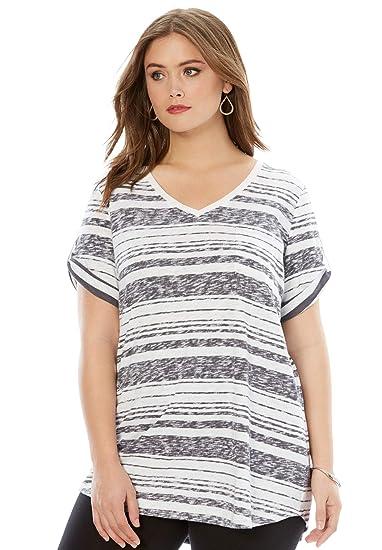 94d5c8f1a7e Roamans Women's Plus Size Boyfriend Slub Tunic - Dark Charcoal Stripe, S at  Amazon Women's Clothing store: