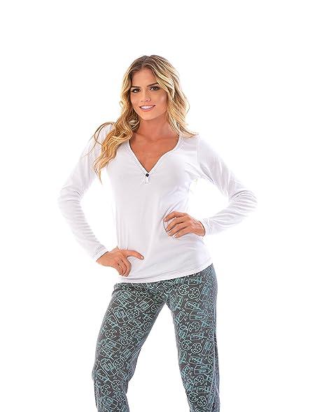 Womens Pajama Pants & Long Sleeve SET / 2 Piece PJ Matching Long Sleeve Top and