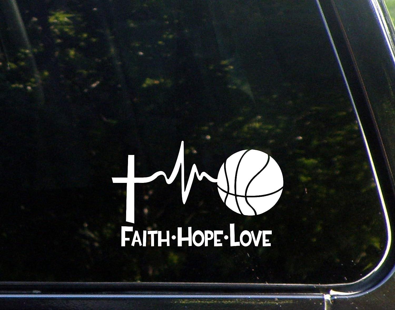 "Diamond Graphics Faith Hope Love Basketball (6"" X 3-3/4"") Die Cut Decal Bumper Sticker for Windows, Cars, Trucks, Laptops"