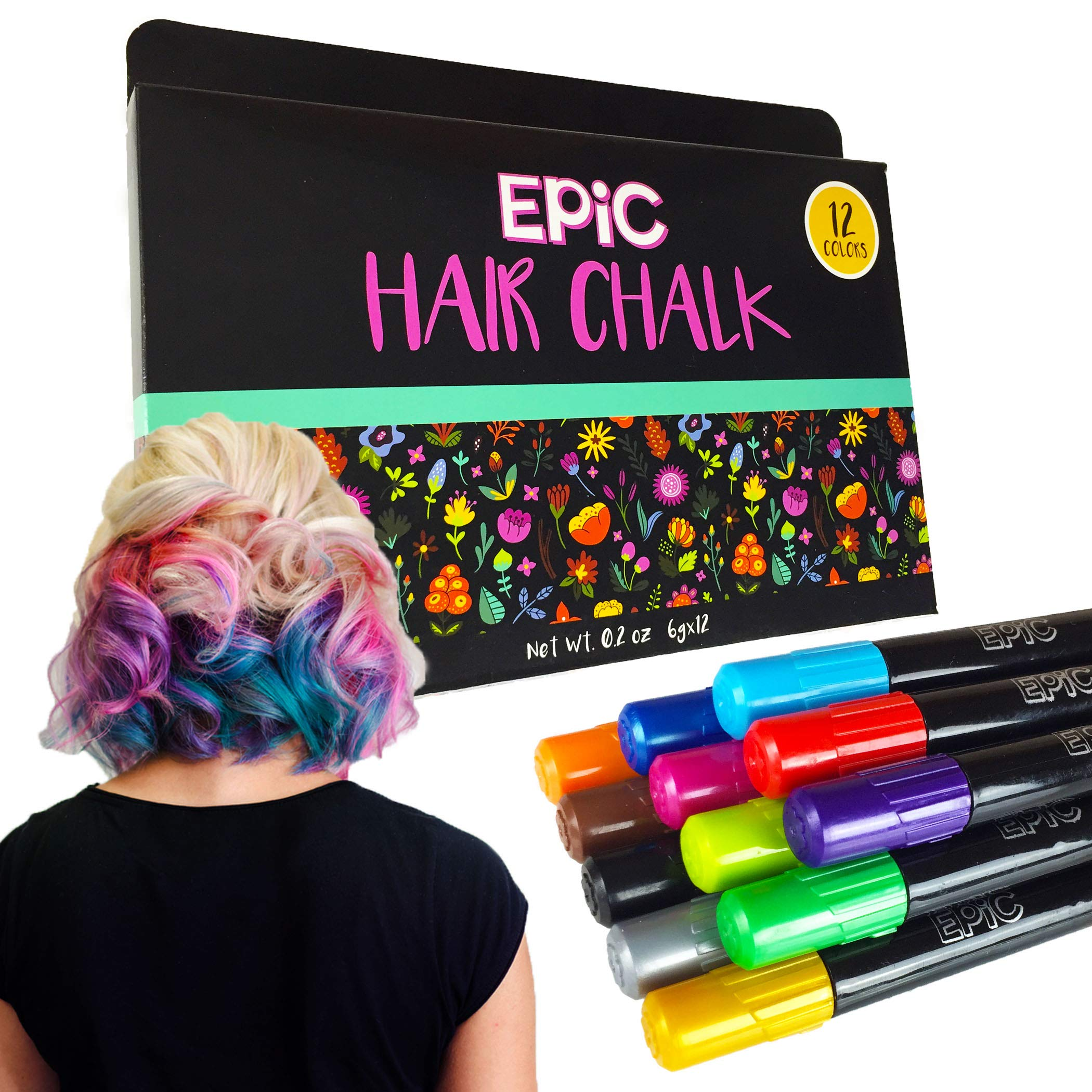 EPIC HAIR CHALK SET: 12 Colorful Chalk Pens. Temporary hair color for kids of all ages! Great for Halloween!