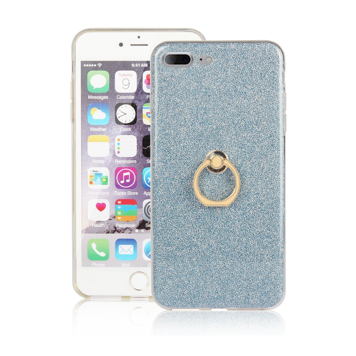 For iPhone 7 Plus/iPhone 8 Plus Case, Gostyle Bling Glitter Clear Ultra Slim Cover, Soft TPU Silicone with Ring Holder Anti-Scratch Shockproof Protective Cover for iPhone 7 Plus/8 Plus 5.5 inch, Golden