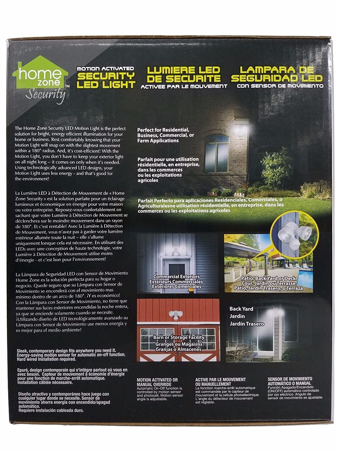 Home Zone Motion Activated Security LED Light 180 Degree Detection 2500 Lumens - - Amazon.com