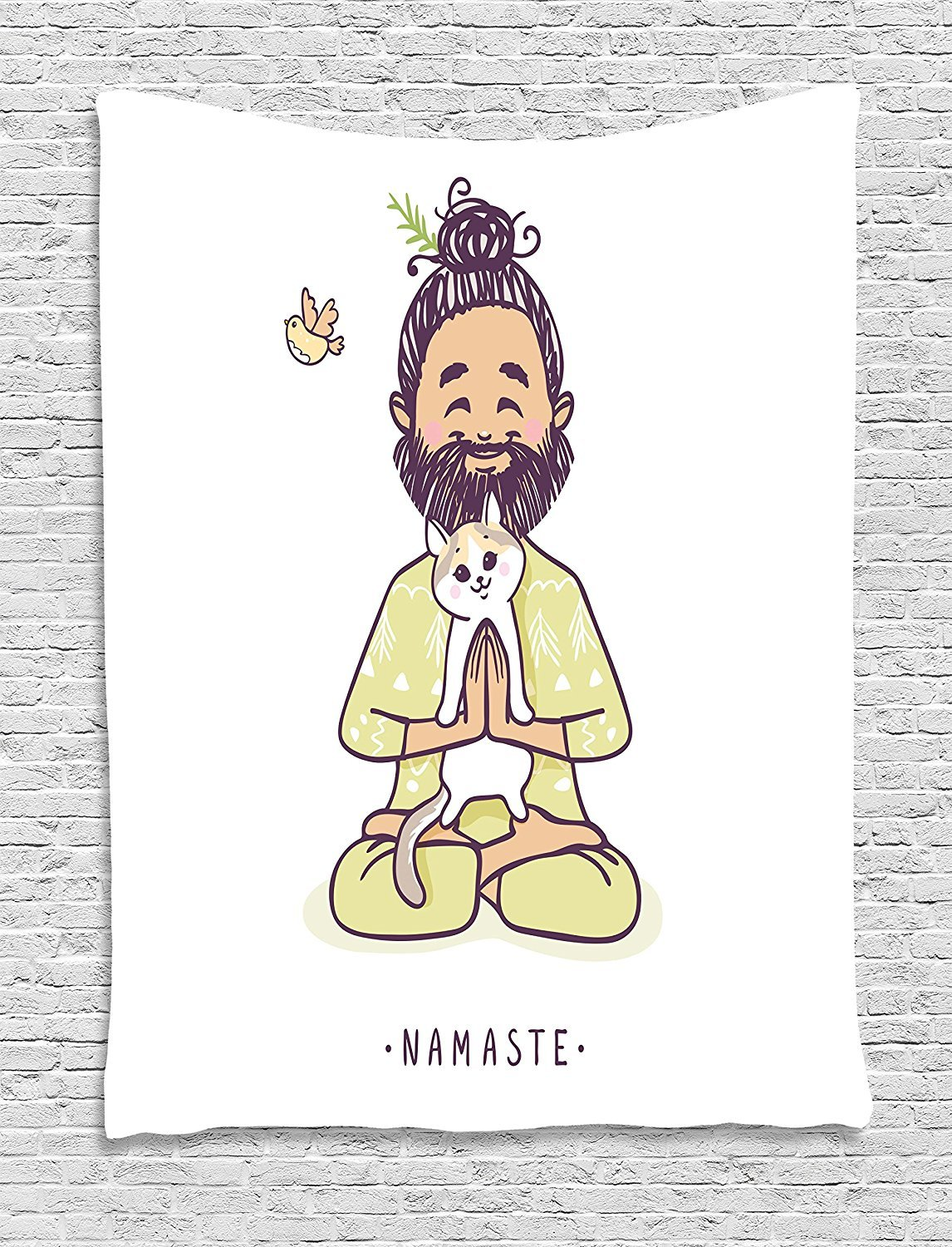 asddcdfdd Funny Tapestry, Positive Man with Cat in Yoga Greeting Pose Namaste Chakra Animal Love Design, Wall Hanging for Bedroom Living Room Dorm, 60 W X 80 L Inches, Pale Green White