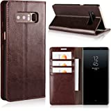 iCoverCase for Samsung Galaxy Note 8 Case,Genuine Leather Wallet Case [Slim Fit] Folio Book Design with Stand and Card Slots Flip Case(Brown)