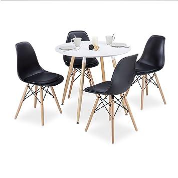 Relaxdays Arvid diseño Retro sillas, con cojín, Conjunto de 4, Silla ...