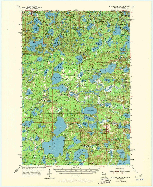 Amazon.com: YellowMaps Boulder Junction WI topo map, 1:62500 Scale