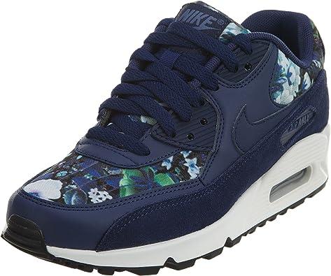 Nike Mujer Air MAX 90 Zapatillas de Running de Flores se Equipo Rojo/Noche marrón: Amazon.es: Zapatos y complementos